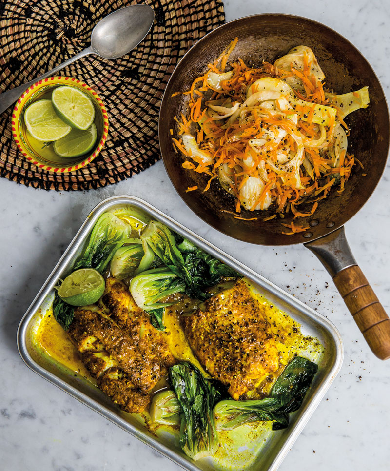 Recipe: Jasmine Hemsley's Ayurvedic tikka fish and pak choi stir-fry