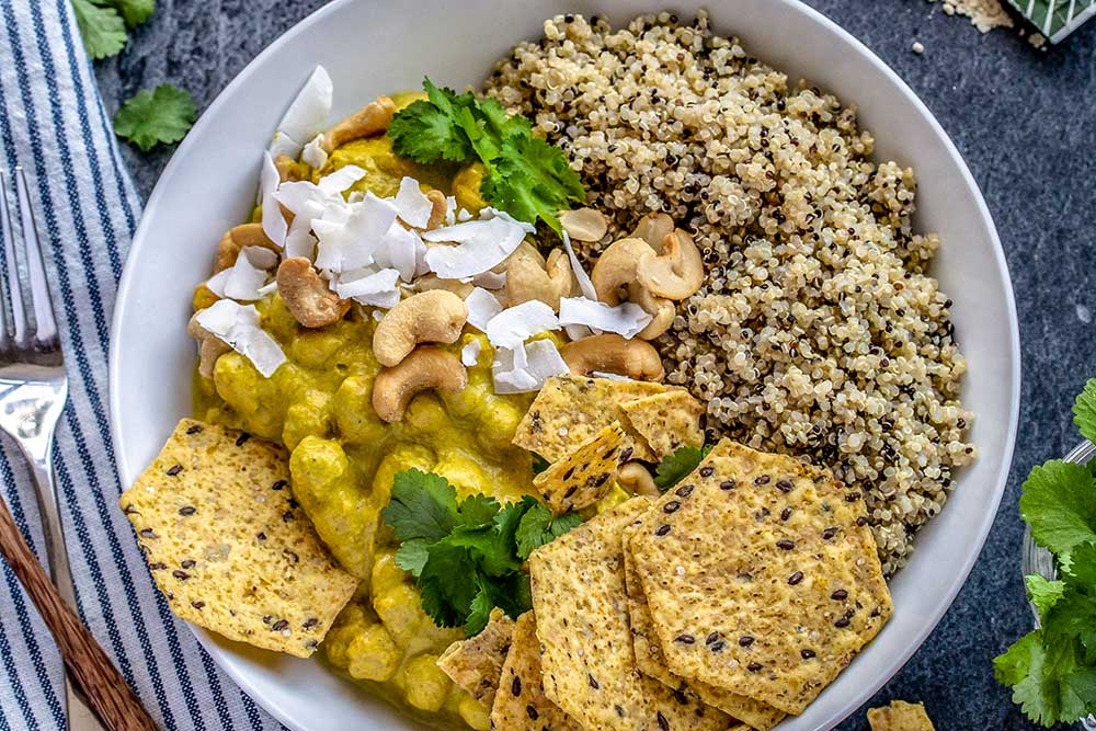 Recipe: Pumpkin, cashew butter, chickpea and pea protein curry